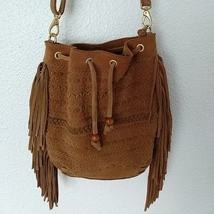 Linea pelle leather bucket fringe bag